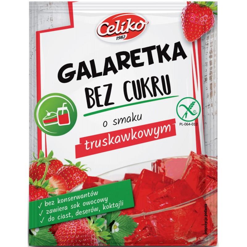 GALARETKA BEZ CUKRU O SMAKU TRUSKAWKOWYM - Produkty Bezglutenowe - Celiko
